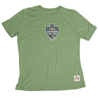 Western Air Lines aviation shirt Moss Green